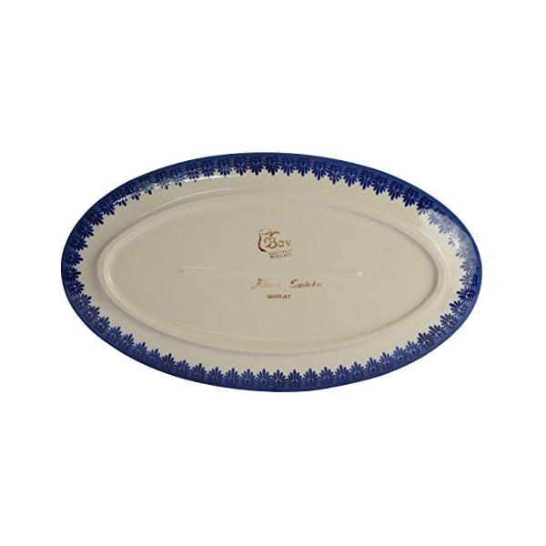 Classic Boleslawiec Pottery Hand Painted Ceramic Oval Serving Dish, Plate, Large 401 (U-097, 35.5×20.0cm)