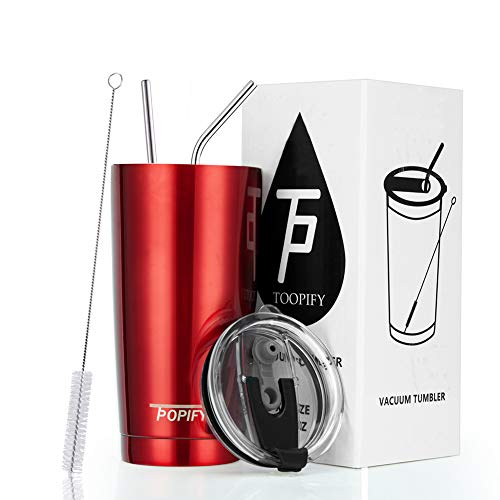 Toopify 20oz Stainless Steel Insulated Red Tumbler Travel Mug with Straw Slider Lid, Cleaning Brush, Double Wall Vacuum