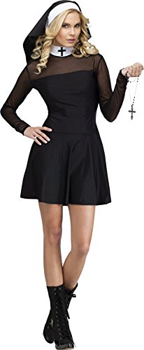 [GTH Women's Catholic Nun Habit Robe Sexy Sister Religious Fancy Costume, M/L (10-14)] (Deluxe Nun Costumes)