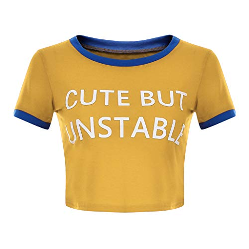 Spring Stretch Fit Cap Trainer - TIFENNY Women's Fashion Tee Shirt Summer Letter Print Short Sleeve T-Shirt Round Collar Color Block Tops Yellow