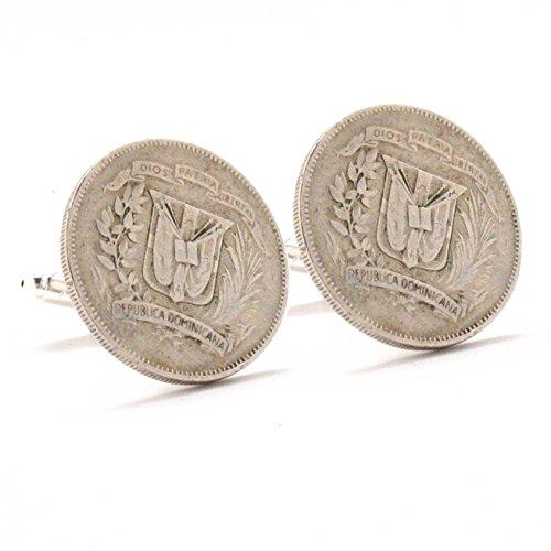 The Traveling Penny Dominican Republic Coin Cufflinks Cuff Links Suit Vintage Antique DR Caribbean Santo Domingo Gift Souvenir Wedding Republica Dominicana