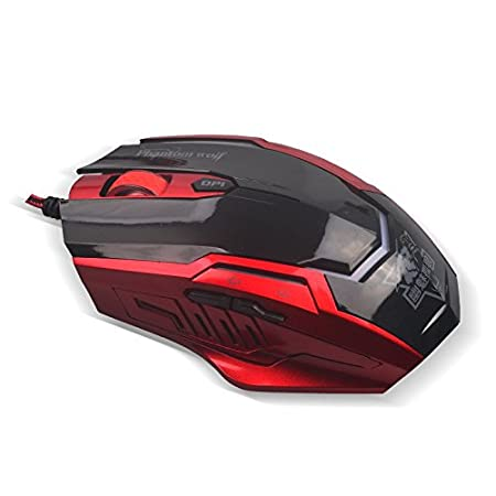 TNI Gaming Mouse with 6 Buttons Multi-Color LED, USB Wired, 2400 DPI for PC or Mac