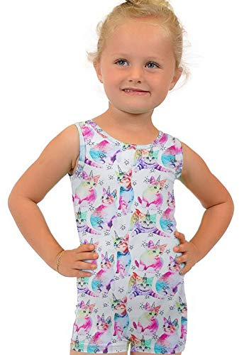 Little Young Girls Lightweight Gymnastics Outfits Novelty Cats Princess Kitty Leotards with Shorts 80s Quick Dry Ballet Dancewear One Piece Rompers 6-7 Years Unitard Sparkly Biketards ()