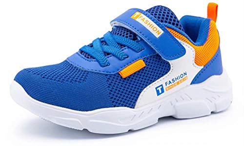ODOUK Kids Tennis Shoes Breathable Running Walking Shoes Fashion Sneakers for Boys and Girls Royal Blue 4 Big Kid