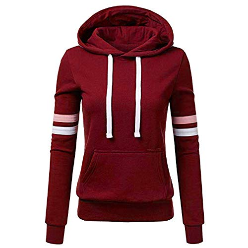 CUCUHAM Women Stripe Sweatshirt Long Sleeve Blouse Hooded Pocket Pullover Tops Shirt(A2-WineRed,Small) ()
