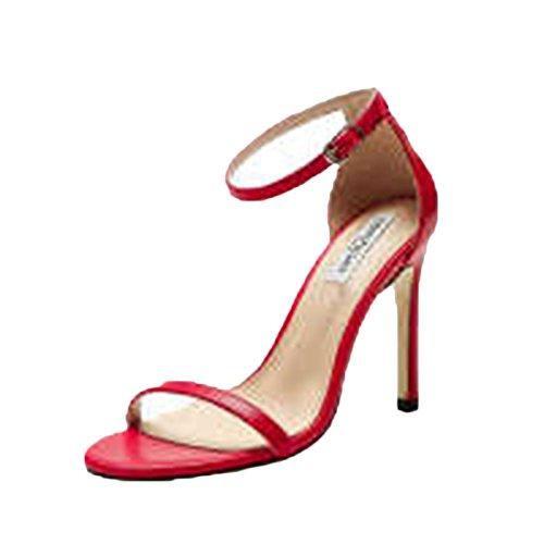 with Evening Peep Heel Sexy Summer Rojo Señoras Zapatos Toe High Sandals Strappy XA6q06wz