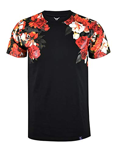 SCREENSHOTBRAND-S11857 Mens Hipster Hip-Hop Premium Tees - Stylish Longline Fashion T-Shirt Flower Print - Mens Pattern Flower