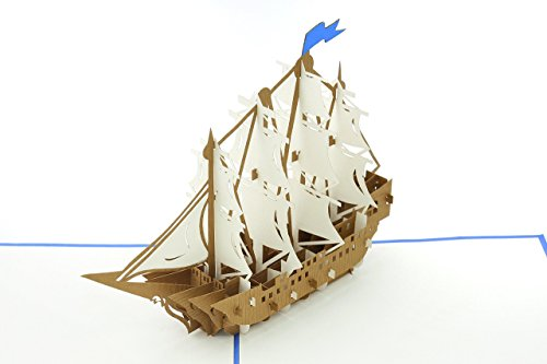 PopLife Sailboat Tall Ship Pop Up Card for All Occasions - Happy Birthday, Graduation, Congratulations, Retirement, Anniversary, Fathers Day - Boaters, Pirates, Ocean Lovers - Folds Flat for Mailing - Gift Fold