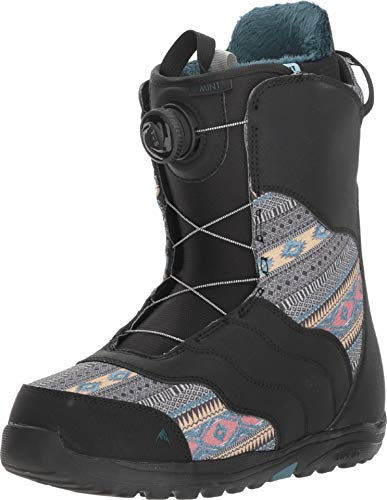 Burton - Womens Mint Boa Snowboard Boots 2019, Black/Multi, 7