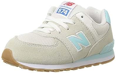 New Balance Girls' Kid's 574 Fashion Sneaker Retro Sport (Tod) Running Shoe, Teal/White, 4 M US Toddler