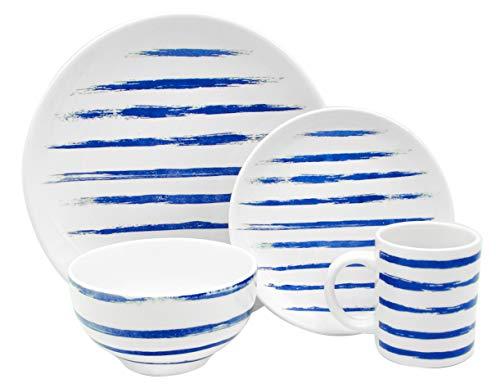 (Melange Porcelain 16-Piece Dinnerware Set | Indigo Lines Collection | Service for 4| Microwave, Dishwasher & Oven Safe | Dinner Plate, Salad Plate, Soup Bowl & Mug (4 Each))