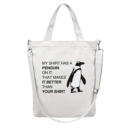 12.5X15 Inches Cute Zip Stylish Canvas Large Tote Bag For Women my shirt has a penguin on it Foldaway Travel Beach Work Gym Book Lunch School Shopping Shoulder Handbag