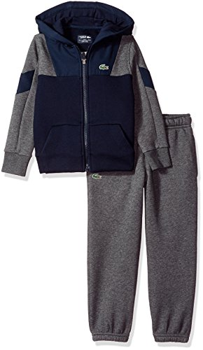 Lacoste Big Boys' Woven/Fleece FZ Hood Tracksuit, Navy Blue/Pitch/Navy Blue/Navy Blue, 14 (Fz Hood)