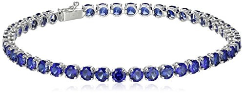 14k White Gold Round Created Blue Sapphire Tennis Bracelet, (14k Blue Sapphire Bracelet)