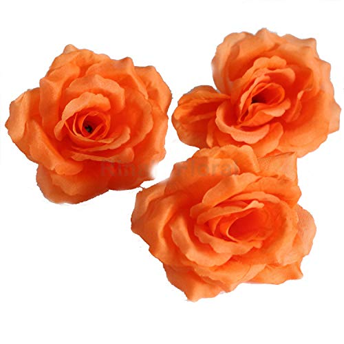 Silk Flowers Wholesale 100 Artificial Silk Rose Heads Bulk Flowers 10cm For Flower Wall Kissing Balls Wedding Supplies (Orange)]()
