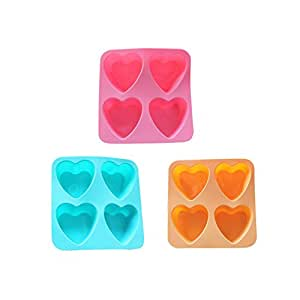Riverbyland Heart Shape Silicone Ice Cube Trays Assorted Colors Set of 3