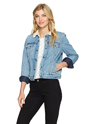 (Levi's Women's Original Sherpa Trucker Jackets, Divided Blue, Medium)
