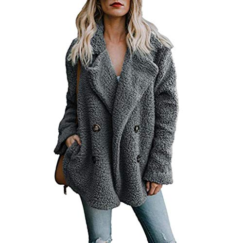 Women's Fuzzy Fleece Coat Open Front Button Cardigan Coat Faux Fur Warm Winter Outwear Jackets with Pockets (Jacket Button Fur Front)