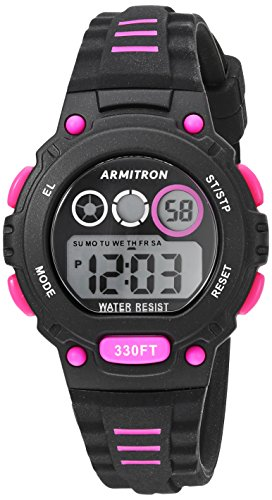 Armitron Sport Women's 45/7106PBK Magenta Accented Digital Chronograph Black Silicone Strap Watch