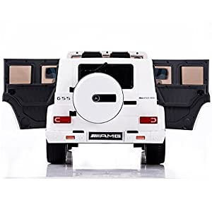 New-2015-Model-12v-Ride-on-Car-Mercedes-G55-High-Doors-Licensed-Toy-for-Kids-Boys-and-Girls-with-Music-Lights-Leather-Seat-Rubber-Tires-White