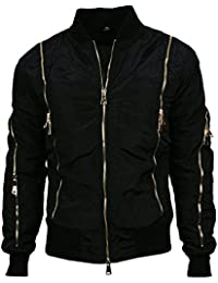 Angel Cola Men's Nylon Bomber Flight Jacket with Gold Zippers