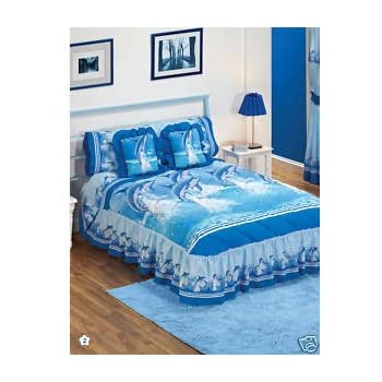 Genial Blue Sea Dolphins Bedspread Sheets Bedding Set Queen