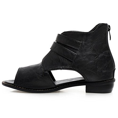 COOLCEPT Mujer Moda Peep Toe Taon Bajo Hueco al Tobillo Verano Botas Zapatos Black