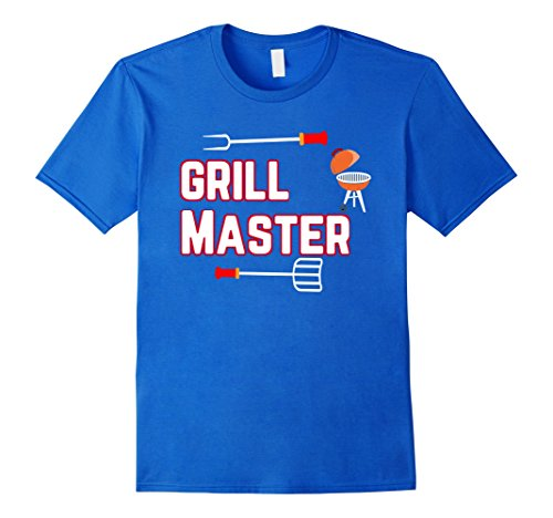 Mens Grill Master Charcoal BBQ Cook Funny Graphic T-Shirt Large Royal Blue