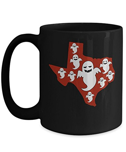 Halloween Ghost Costumes Texas Map Funny Coffee Mug Black Color 11oz, -