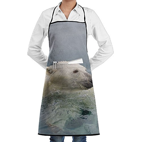 - Polar Bear Of Iceberg Apron Lace Adult Mens Womens Chef Adjustable Polyester Long Full Black Cooking Kitchen Aprons Bib With Pockets For Restaurant Baking Crafting Gardening BBQ Grill