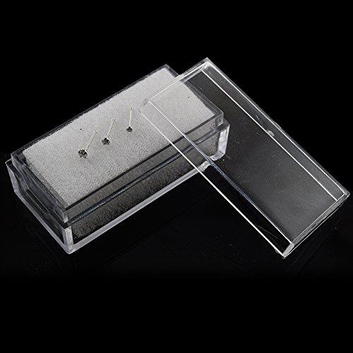 Pack de 3 pièces de 14 carats en or blanc massif griffe Set CZ Pierre 22 calibre fin nez Pin nez à rotule