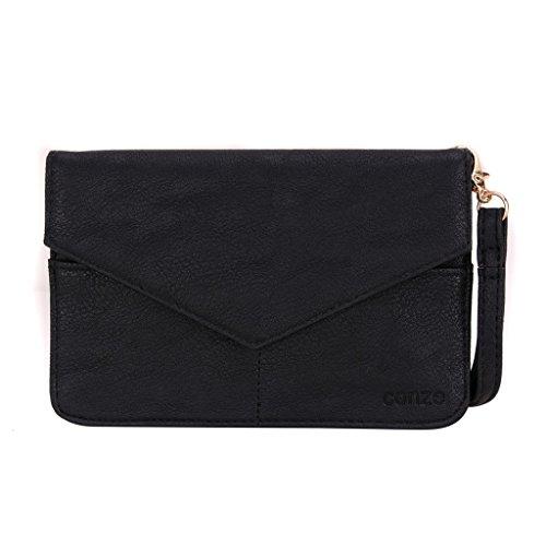 Conze Mujer embrague cartera todo bolsa con correas de hombro compatible con Smart teléfono para Alcatel Pixi 3(5)/(4.5)/(4) negro negro negro