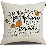 Happy Pumpkin Spice Season Pillow Thanksgiving Decoration Cotton Linen Throw Pillow Cover 18x18 inch Thanksgiving Gifts