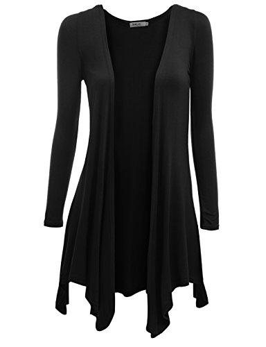 Doublju Womens Solid Opne Front 3/4 Sleeve Big Size Shrug BLACK,XL