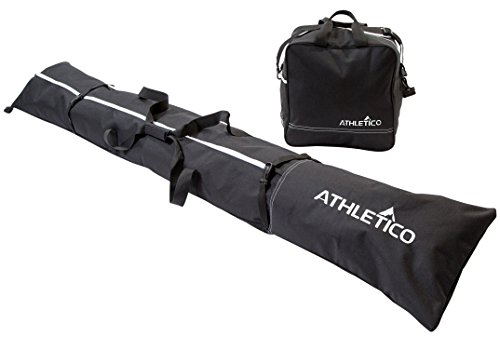 Snow Ski Bags - Athletico Two-Piece Ski and Boot Bag Combo | Store & Transport Skis Up to 200 CM and Boots Up To Size 13 | Includes 1 Ski Bag & 1 Ski Boot Bag (Black)