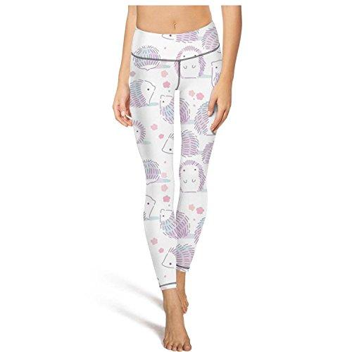 RegiDreae Women's High Waist Yoga Pants Hedgehog Outline Sketch 1 Workout Running Leggings (Hedgehog Outline)