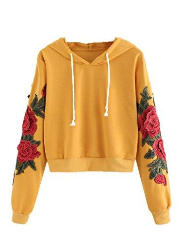 ROMWE Women's Long Sleeve Embroidery Sweatshirts Casual Hoodies Pullover Yellow XL
