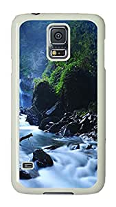 VUTTOO Rugged Samsung Galaxy S5 Case, Beautiful Taiwan Forest Waterfalls Hard Plastic Case for Samsung Galaxy S5 I9600 PC White
