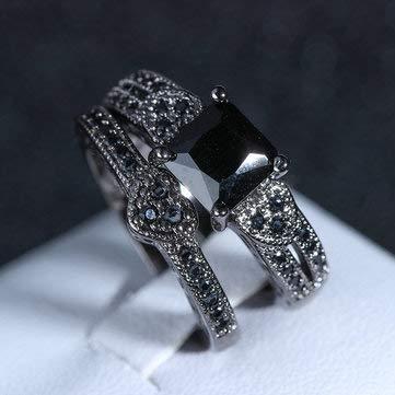 2Pcs/set Classic Engagement Ring Gun Black Heart Ring Sets for Women - Rings Finger Rings - (8)