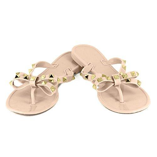 Women's Rivets Bowtie Flip Flops Jelly Thong Sandal Rubber Flat Summer Beach Rain Shoes (US8=EU40=25CM, Pink beige)