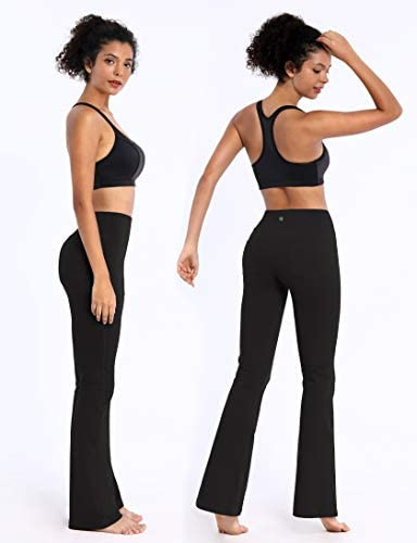 "BUBBLELIME 29""/31""/33""/35"" 4 Styles Women Bootcut Yoga Pants Basic/Back Pocket/Straight Leg Soft Workout Flare Tummy Control 3"