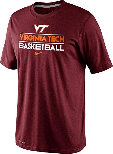 Nike Virginia Tech Hokies Basketball Team Issue Practice Dri-FIT T-Shirt (Large, Dark Maroon)