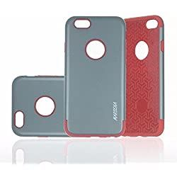 iPhone 6/6s Case (4.7'') Hybrid Armor TPU PC case for iPhone 6/6s, 2in1 back cover (Dark Grey with Red)