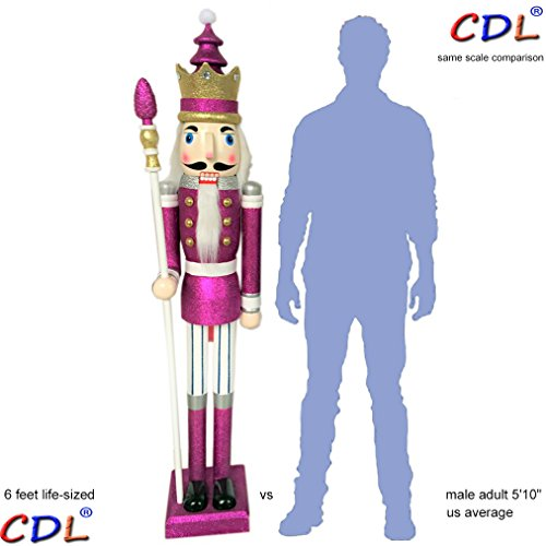ECOM-CDL CDL 6ft tall life-size large/giant purple glitter Christmas wooden nutcracker king ornament on stand holds scepter for indoor outdoor Xmas/event/wedding decoration(6 feet, king purple k32)