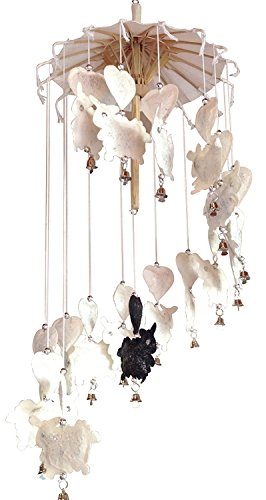 NAVA CHIANGMAI Handmade Baby Crib Mobile Sheep and Heart - Little Lambs Made of Natural Mulberry Paper Hanging Beautiful Cream Colored