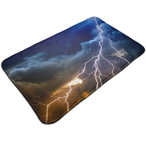 HengZhe Door Mat Lightning Storm Entrance Rug,Fade Resistant Floor Mats,Slip-Proof Bathroom Mat,Shoes Scraper Carpet,19.5x31.5x0.47 Inches
