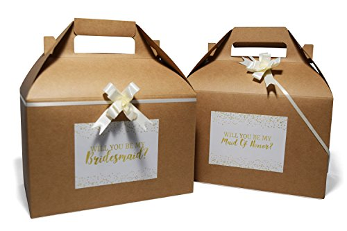 Gift Boxes Bridesmaid - QualityVibe Bridesmaid Gift Boxes | Set of 10 Kraft Gable Proposal Boxes with Ivory Bows & Graphic Cards for Bridesmaid, Maid of Honor & Flower Girls with Extra Cards to Ask Bridal Party.