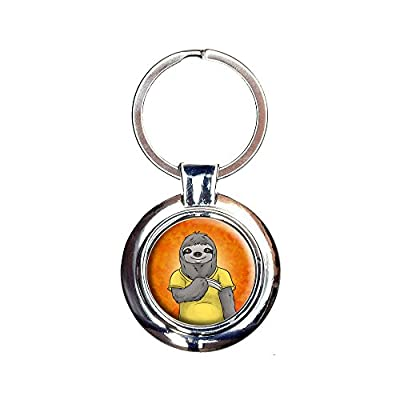 Portrait Of A Sloth Keychain Key Ring - Made On Terra