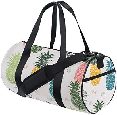 ボストンバッグ 葉とカラフルな パイナップル ジムバッグ ガーメントバッグ メンズ 大容量 防水 バッグ ビジネス コンパクト スーツバッグ ダッフルバッグ 出張 旅行 キャリーオンバッグ 2WAY 男女兼用