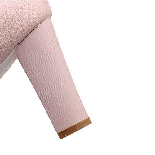 Amoonyfashion Womens Buckle Peep Toe Hoge Hakken Pu Solide Hak-sandalen Roze